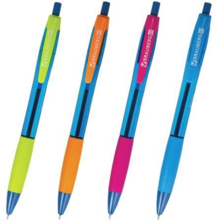 Ручка шариковая масляная автоматическая BRAUBERG Fruity RG 142655 синий 0.35 мм