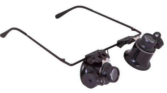 Лупа-очки LEVENHUK Zeno Vizor G2, увеличение х20, диаметр линз 15 мм, подсветка, металл/пластик, 69672 фото