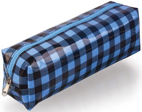 Пенал-косметичка BRAUBERG, пвх, голубой-черный, клетка, 20х6х5 см, 223271 пенал косметичка union 010 голубой перламутр