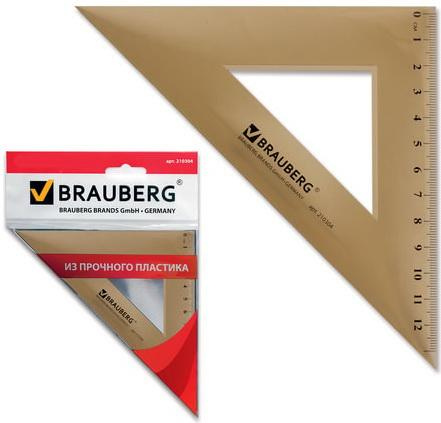 Треугольник пластиковый, угол 45, 16,5 см, BRAUBERG, тонированный, прозрачный, европодвес, 210304