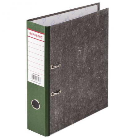 Папка-регистратор BRAUBERG, фактура стандарт, с мраморным покрытием, 80 мм, зеленый корешок, 220990 цена