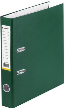 Папка-регистратор BRAUBERG с покрытием из ПВХ, 50 мм, зеленая (удвоенный срок службы), 221816 папка регистратор brauberg с покрытием из пвх 80 мм с уголком синяя удвоенный срок службы 227191
