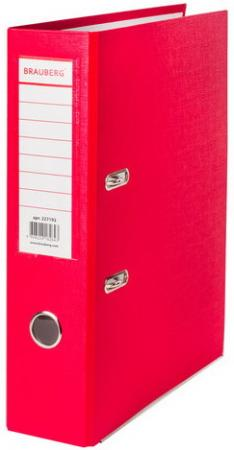 Папка-регистратор BRAUBERG с покрытием из ПВХ, 80 мм, с уголком, красная (удвоенный срок службы), 227192 папка регистратор brauberg с покрытием из пвх 80 мм с уголком синяя удвоенный срок службы 227191