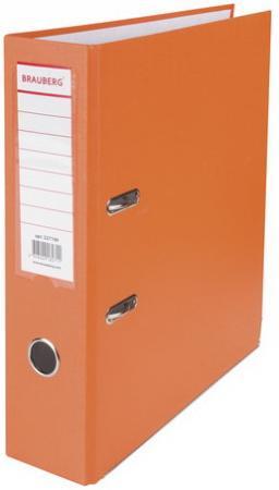 Папка-регистратор BRAUBERG с покрытием из ПВХ, 80 мм, с уголком, оранжевая (удвоенный срок службы), 227199 папка регистратор brauberg с покрытием из пвх 80 мм с уголком синяя удвоенный срок службы 227191