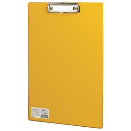 Доска-планшет BRAUBERG Comfort, с верхним прижимом, А4, 23х35 см, картон/ПВХ, Россия, желтая, 222662 планшет а4 формулы лам картон