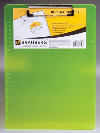 Доска-планшет BRAUBERG Energy, с верхним прижимом, А4, 22,6х31,5 см, пластик, 2 мм, неоновый желтый, 232231 блокнот рецепты успешного неоновый желтый