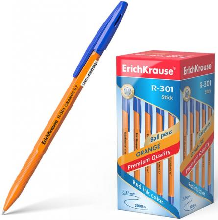 Набор шариковых ручек Erich Krause R-301 Orange Stick 0.7 43194 50 шт синий 0.35 мм erich krause набор шариковых ручек r 301 classic 1 0 stick 3 шт 42618