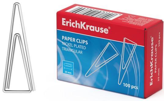 Скрепки ERICH KRAUSE, 25 мм, металлические, треугольные, 100 штук, в картонной коробке, 24869 скрепки centrum центрум 25 мм 100 шт уп треугольные никель