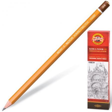 Карандаш чернографитный KOH-I-NOOR 1500, 1 шт., 2B, без резинки, корпус желтый, заточенный, 150002B01170RU koh i noor чернографитный карандаш 8971 2b 1 шт 897102b005kk