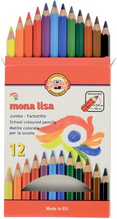 Карандаш цветной Koh-i-Noor Mona Lisa 3372012007KS 12 шт 175 мм утолщенные карандаш цветной koh i noor mondeluz бананово желтый 175 мм акварельные 3720 41