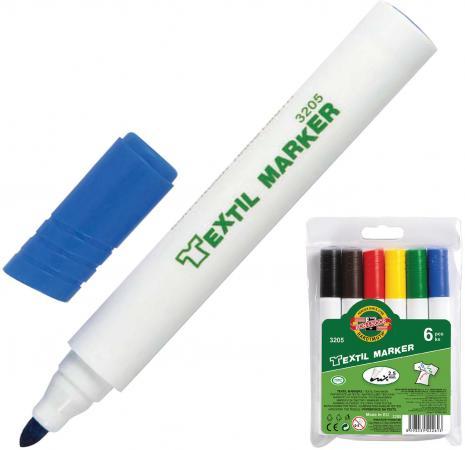 Набор маркеров для ткани Koh-i-Noor 773205JF01TE 2.5 мм 6 шт черный коричневый красный желтый зеленый синий
