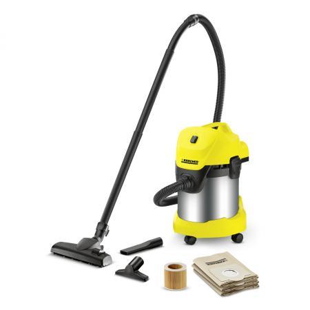 Пылесос Karcher WD 3 Premium Home сухая влажная уборка стальной жёлтый цена и фото