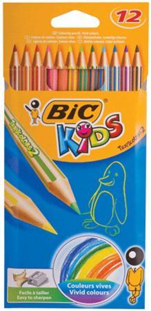 Карандаши цветные BIC Tropicolors 2, 12 цветов, пластиковые, заточенные, европодвес, 8325666