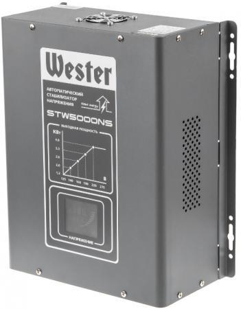 Фото - Стабилизатор напряжения WESTER STW5000NS 5 000 ВА цифровой, однофазный, 220В, вх.:125-275В переходник 6мм ёлочка 2шт wester 815 000