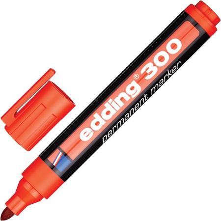 Маркер перманентный (нестираемый) EDDING 300, 1,5-3 мм, круглый наконечник, красный, E-300/2
