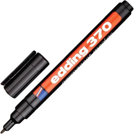 Маркер перманентный (нестираемый) EDDING 370, круглый наконечник, 1 мм, черный, E-370/1