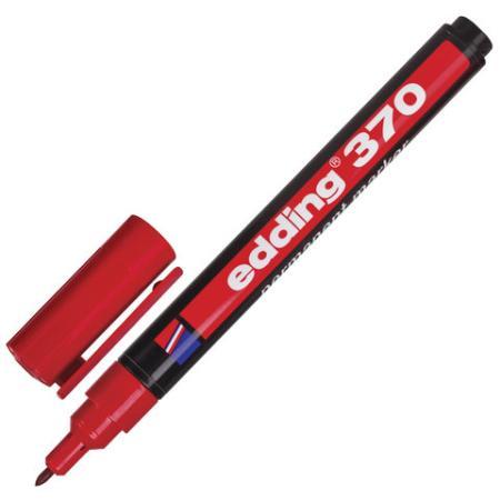 Маркер перманентный (нестираемый) EDDING 370, тонкий наконечник 1 мм, красный, E-370/2
