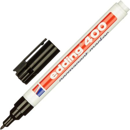 Маркер перманентный (нестираемый) EDDING 400, заправляемый, тонкий наконечник 1 мм, черный, E-400/1