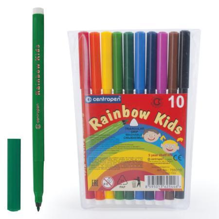 Фото - Набор фломастеров Centropen Rainbow Kids 7550/10 1 мм 10 шт 151179 centropen набор фломастеров rainbow kids 12 шт 7550 12