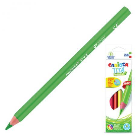 Набор цветных карандашей CARIOCA Tita Triangular Maxi 6 шт 175 мм утолщенные