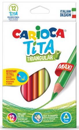 Карандаши цветные утолщенные CARIOCA Tita Triangular Maxi, 12 цветов, пластиковые, трехгранные, 5 мм, 42791