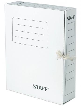 Папка архивная с завязками, микрогофрокартон, 75 мм, до 700 листов, белая, STAFF, 128869