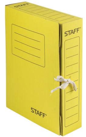 Папка архивная с завязками, микрогофрокартон, 75 мм, до 700 листов, желтая, STAFF, 128873