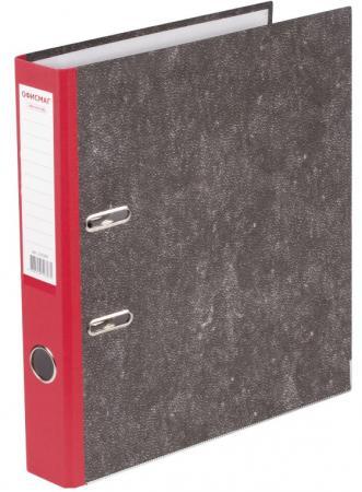 Папка-регистратор ОФИСМАГ, фактура стандарт, с мраморным покрытием, 50 мм, красный корешок, 225587