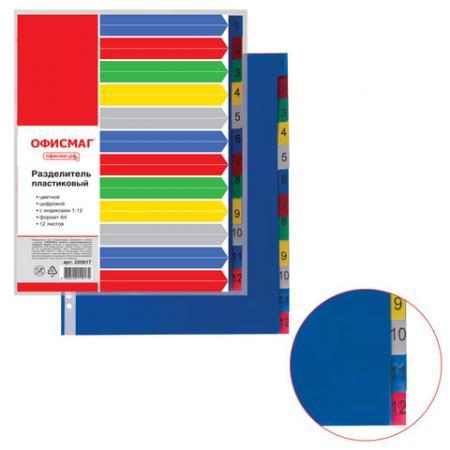 Разделитель пластиковый ОФИСМАГ, А4, 12 листов, цифровой 1-12, оглавление, цветной, Россия, 225617 разделитель картонный цифровой 1 31 ф а4 цветной