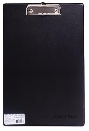 Доска-планшет ОФИСМАГ с верхним прижимом, А4, 23х35 см, картон/ПВХ, Россия, черная, 225986 планшет а4 формулы лам картон