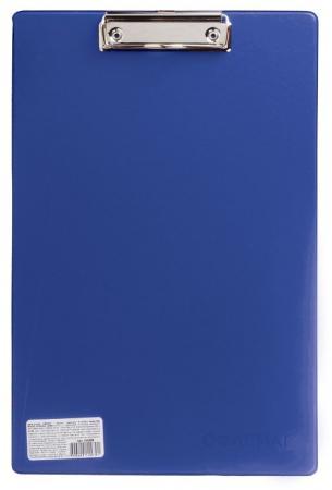 Доска-планшет ОФИСМАГ с верхним прижимом, А4, 23х35 см, картон/ПВХ, Россия, синяя, 225987 планшет а4 формулы лам картон