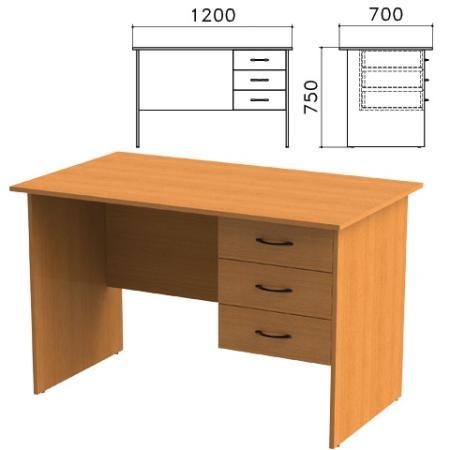 Стол письменный Фея, 1200х700х750 мм, тумба 3 ящика, цвет орех милан, СФ10.5 цена