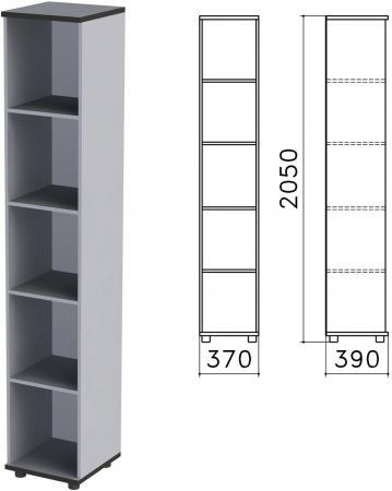 Шкаф (стеллаж) Монолит, 370х390х2050 мм, 4 полки, цвет серый, КМ45.11