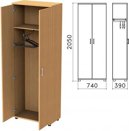 Шкаф для одежды Монолит, 740х390х2050 мм, цвет бук бавария, ШМ49.1