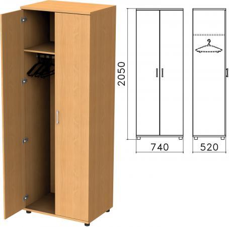 Шкаф для одежды Монолит, 740х520х2050 мм, цвет бук бавария, ШМ50.1