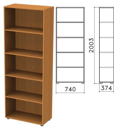 Шкаф (стеллаж) Фея, 740х370х2000 мм, 4 полки, цвет орех милан, ШФ14.5 цена