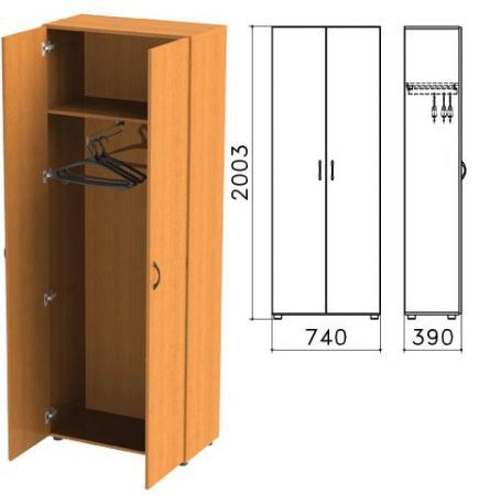 Шкаф для одежды Фея, 740х390х2000 мм, цвет орех милан, ШФ17.5