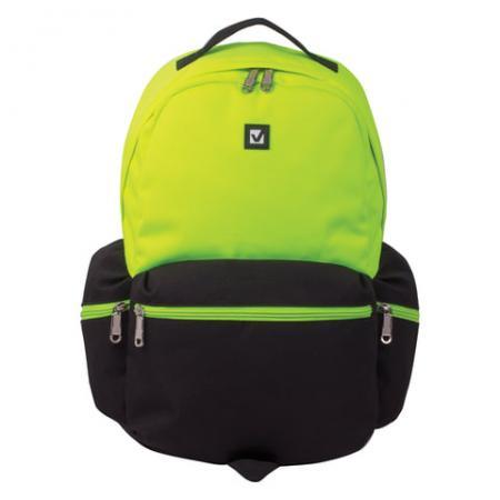 Купить Рюкзак ручка для переноски BRAUBERG Гарвард 27 л черный салатовый, Рюкзаки и сумки