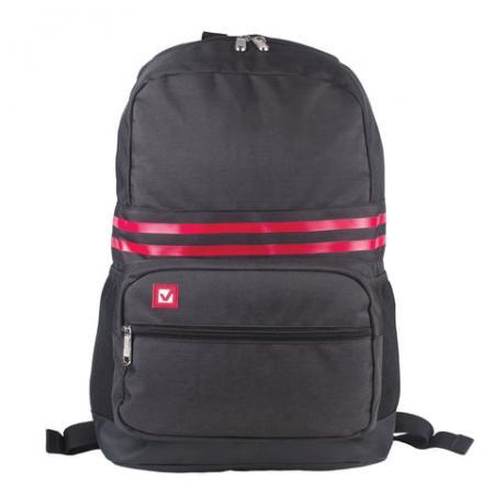 Купить Рюкзак ручка для переноски BRAUBERG Две полоски 18 л черный, Рюкзаки для школьников