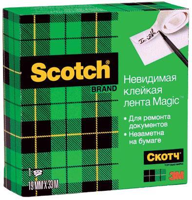 Фото - Клейкая лента 3M Scotch Magic 19мм x 33 м FT510281676 клейкая лента 3m scotch crystal 600rus 19мм x 33 м канцелярская