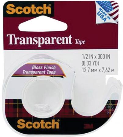 Клейкая лента 3M Scotch Transparent 12.7 мм x 7.62 м прозрачная, на мини-диспенсере, 46 мкм, 144SS-ENG набор для творчества лента клейкая декоративная scotch скотч washi цветы 15мм 10м