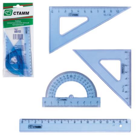 Набор чертежный малый СТАММ (линейка 16 см, 2 угольника, транспортир), прозрачный, европодвес, НГ01 набор малый цветной линейка 16 см 2 треугольника мал транспортир