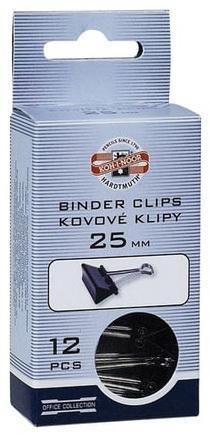 Зажимы для бумаг KOH-I-NOOR, комплект 12 шт., 25 мм, на 100 листов, черные, картонная коробка, подвес, 9600300125KS недорого