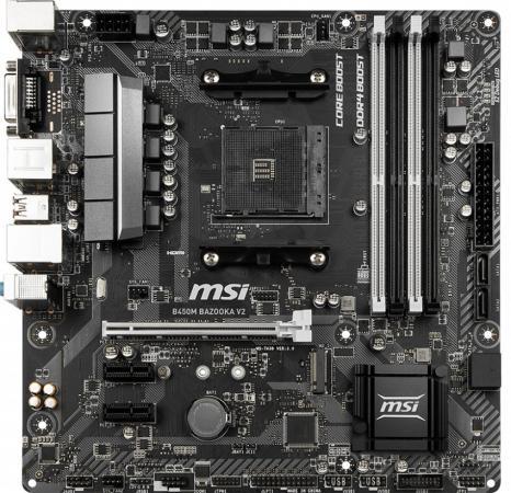 Материнская плата MSI B450M BAZOOKA V2 Socket AM4 AMD B450 4xDDR4 1xPCI-E 16x 2xPCI-E 1x 4 mATX Retail