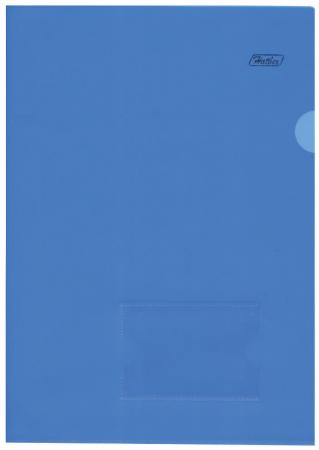 Папка-уголок с карманом для визитки, А4, синяя, 0,18 мм, AGкм4 00102, V246955
