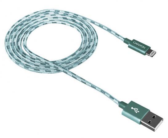 Кабель Lightning 1м Canyon CNE-CFI3G круглый зеленый кабель canyon cne usbm1w microusb белый