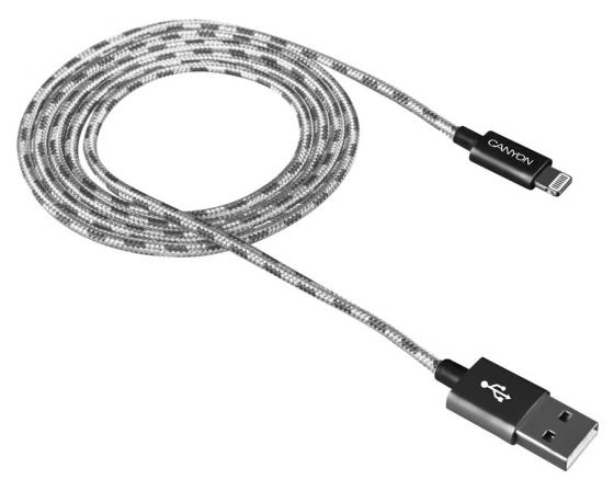 Кабель Lightning 1м Canyon CNE-CFI3DG круглый серый кабель canyon cne usbm1w microusb белый