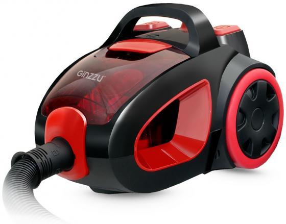 лучшая цена Пылесос Ginzzu VS437, 2000/400 Вт., без мешка, циклонный фильтр, чёрный/красный