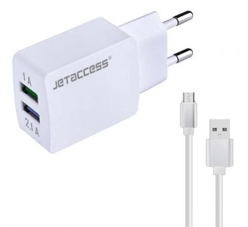 Сетевое зарядное устройство Jet.A UC-S25 2.1A microUSB белый