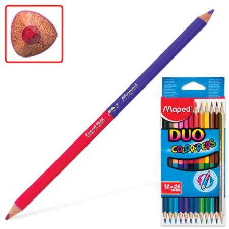 Набор цветных карандашей Maped Color Pep's 24 шт 175 мм двухсторонние maped набор капиллярных ручек graph pep s duo 10 штук 20 цветов 0 4 мм maped